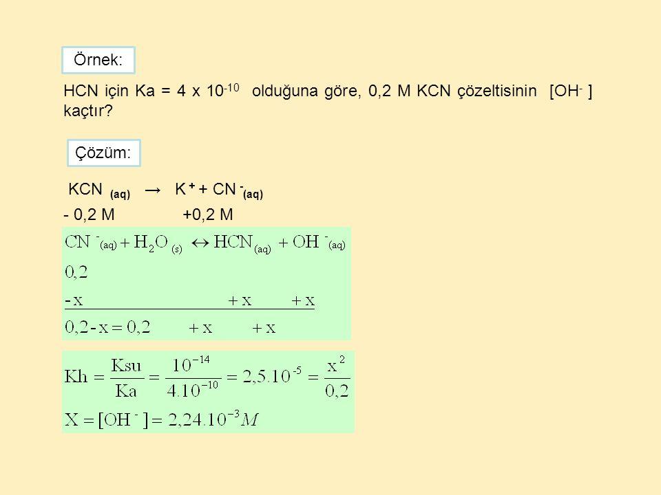 Örnek: HCN için Ka = 4 x 10-10 olduğuna göre, 0,2 M KCN çözeltisinin [OH- ] kaçtır Çözüm: KCN (aq) → K + + CN -(aq)
